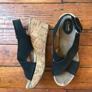Clark's artisan cork wedge sandals 8